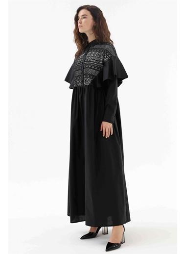 Vivencia Dantel Detaylı Kolları Volanlı Kadın Elbise  Siyah